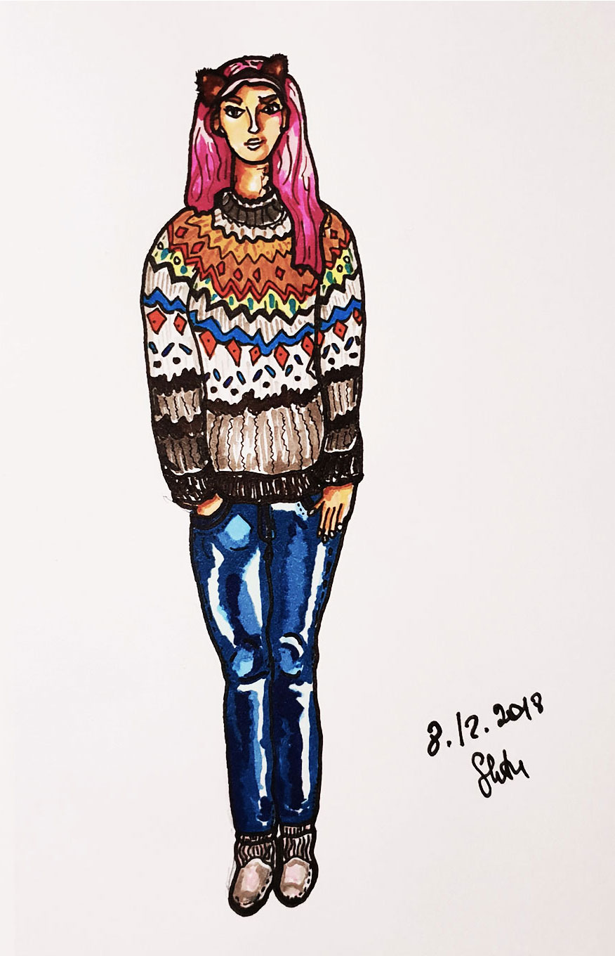 Pink hair girl in sweater
