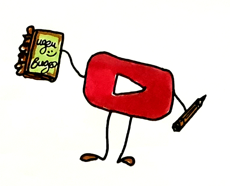 YouTube button with pencil and notebook