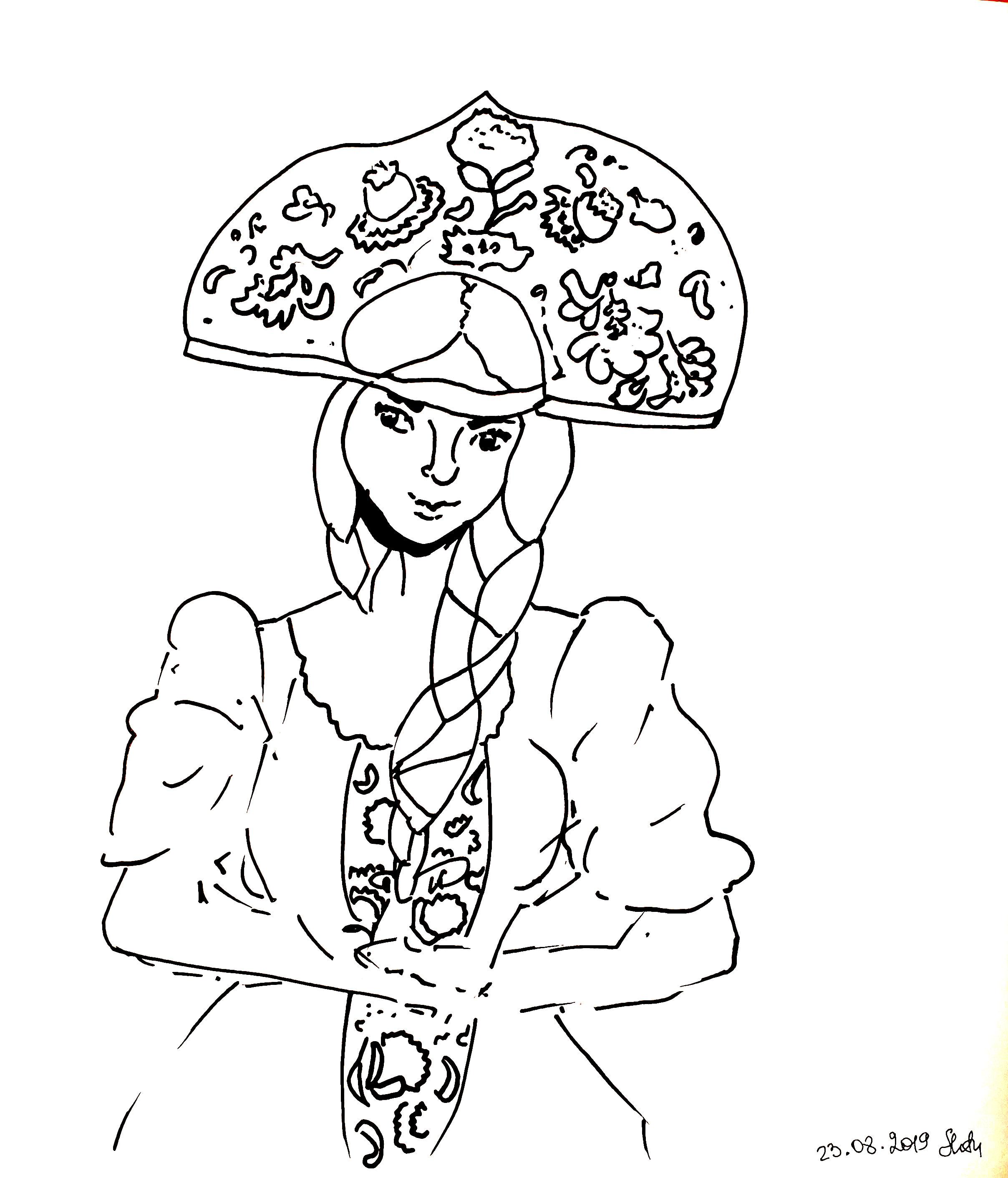 Russian girl in kokoshnik