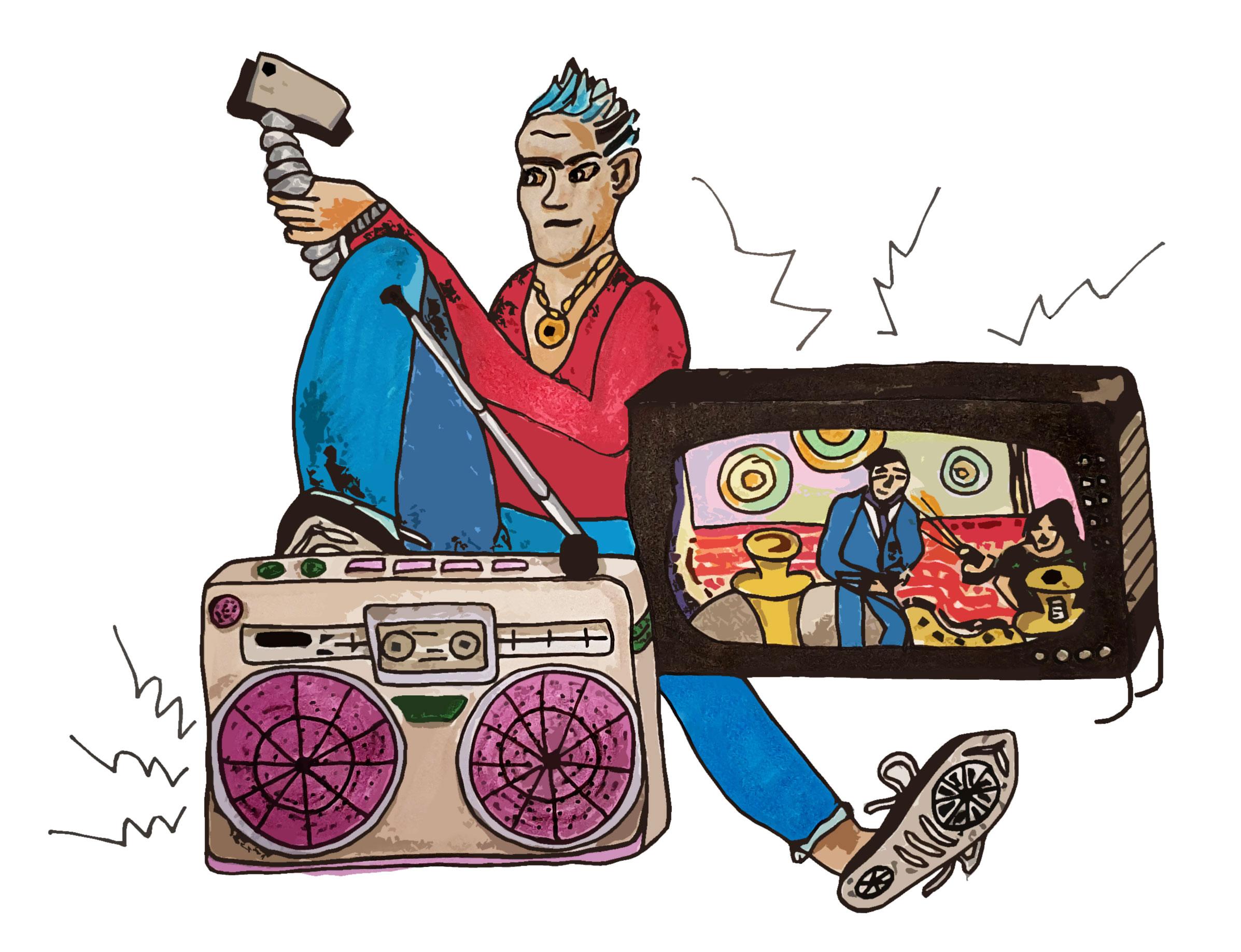 Man vlogging near tv and radio