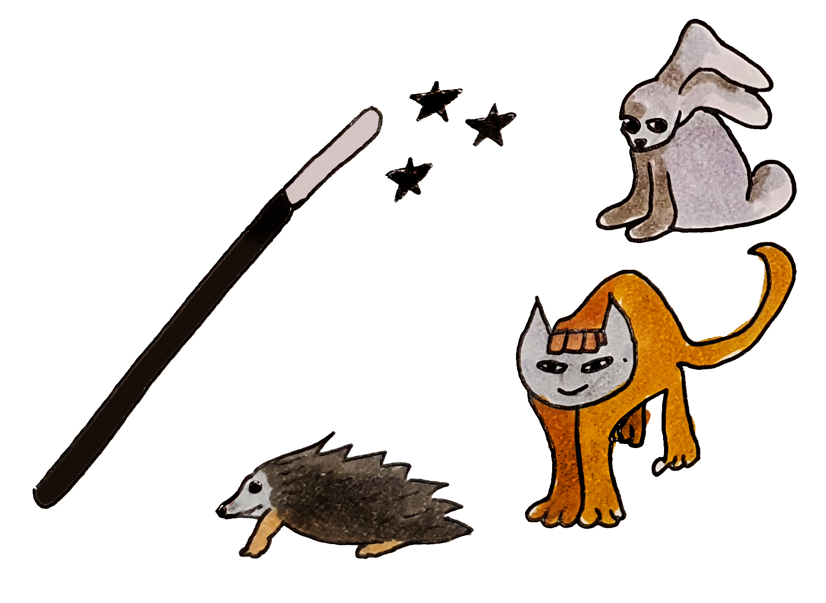 Magic wand with animals