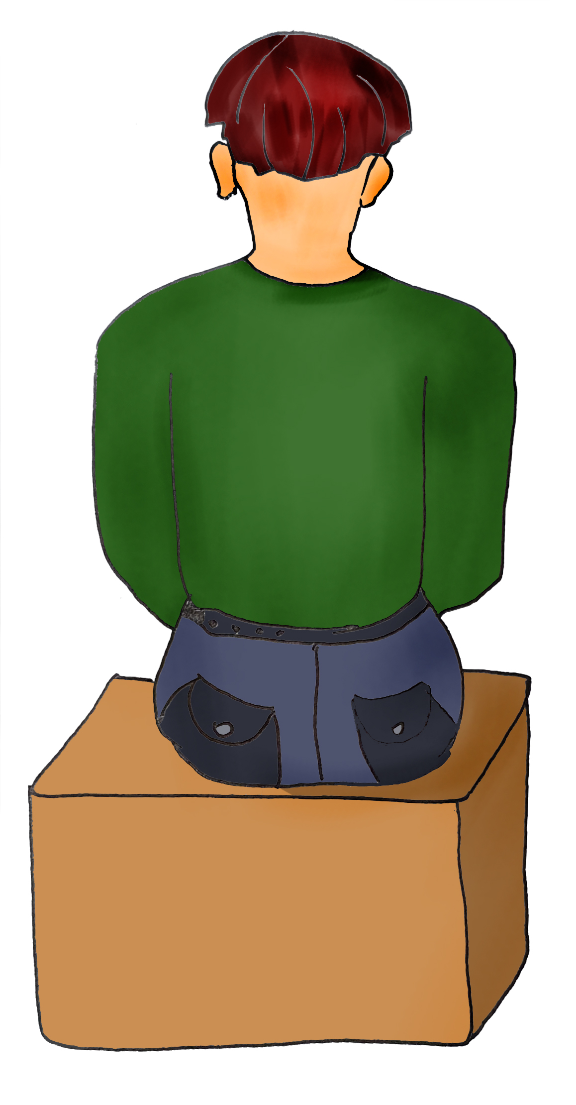 Man sitting on a box
